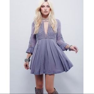 FP Lavender Boho Mini Choker Dress